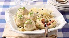 Wurstknödel Rezept » Thea Potato Salad, Potatoes, Snacks, Ethnic Recipes, Party, Yummy Food, Food And Drinks, Food Ideas, Bakken
