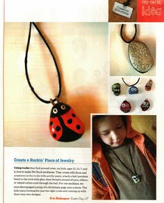 Making Jewelry out of Pet Rocks. Craft ideas from Family Fun Magazine. Rock Necklace, Rock Jewelry, Cute Jewelry, Jewelry Art, Beaded Jewelry, Bug Crafts, Rock Crafts, Arts And Crafts, Craft Activities For Kids