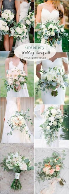 Greenery eucalyptus wedding bouquets