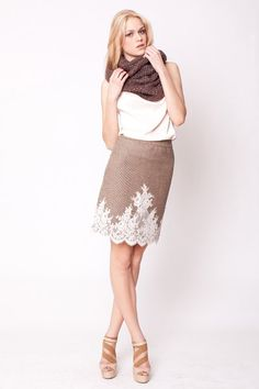 secret PAL  wool skirt beige Brown lace by thesecretPal on Etsy, $247.00