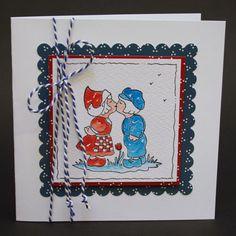 Hier zie je een heleboel kaarten, die gemaakt zijn met Hollandse stempels. Deze keer zijn ze in het rood, wit en blauw.