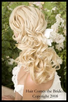 Long Hair Wedding Styles, Wedding Hair & Beauty Photos by Hair Comes the Bride - Image 12 of 37 - WeddingWire Long Hair Wedding Styles, Wedding Hair And Makeup, Hair Makeup, Wedding Curls, Wedding Bride, Bride Veil, Prom Makeup, Wedding Reception, Wedding Dresses