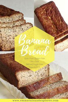 Grain Free Banana Bread by Emma Eats & Explores Gluten Free Recipes, Bread Recipes, Baking Recipes, Real Food Recipes, Healthy Recipes, Crockpot Recipes, Healthy Chef, Potato Recipes, Casserole Recipes