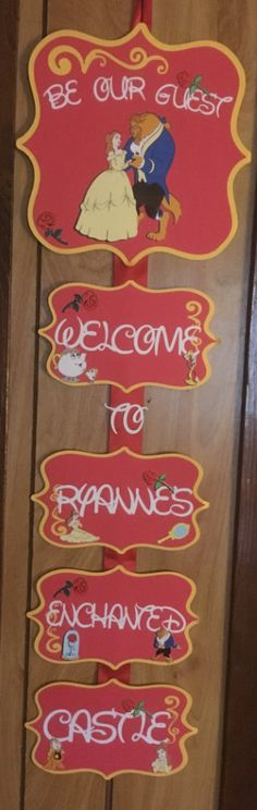 This Beauty and the Beast inspired Door Sign is the perfect way.. To welcome your guests to your party.  This order is for one Beauty and the Beast themed Door sign. This door sign is handmade from high quality, acid free cardstock and photo paper All pieces are attached on to a Red satin ribbon. 10in Width 32in Height .  ** PLEASE LEAVE CHILDS NAME IN NOTES TO SELLER** **Matching Happy Birthday Banner,name banner, and Photo Banner available for purchase**  At the time of check out, please…