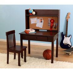 Kylie Collection Desk with Hutch and Chair Value Bundle Espresso