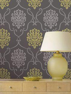 Suzette Grey Modern Damask Wallpaper Wallpaper idea for closet interior.