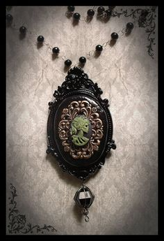 Gothic Victorian Cameo Brass Filigree Absinthe Green Skull Lady Black Onyx Cameo Jewelry Necklace