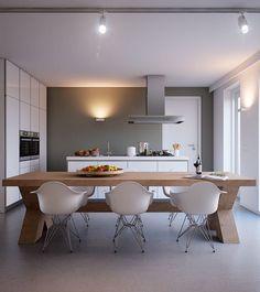 Inspiratie voor een moderne keuken met eettafel