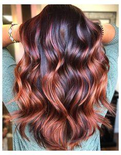 Red Balayage Hair, Auburn Balayage, Hair Highlights, Copper Balayage, Dark Red Balayage, Copper Highlights On Brown Hair, Auburn Ombre, Color Highlights, Light Auburn Hair Color