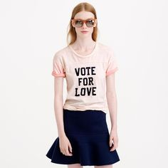 NWT J.CREW Vintage Cotton Vote for Love Tee Palest Blush Pink Size Small S #JCrew #GraphicTee