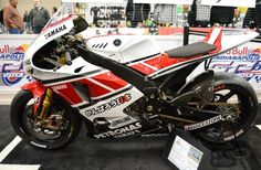 The Yamaha YZR-M1 1000cc is ridden by Ben Spies of Team Yamaha in the MotoGP Class. MotoGp Bikes as seen at the Indianapolis Motorcycle Show and Dealer Expo in February 2013.