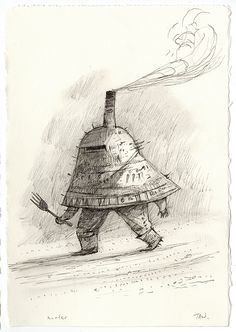 Shaun Tan - Hunter, ink and pencil, 15 x 21cm