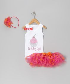 Take a look at this White & Pink Cupcake Stud Tutu Set - Infant, Toddler & Girls on zulily today!