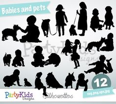 Babies and Pets Silhouette, Instant Download, PNG, JPG, SVG, eps files Ps-248