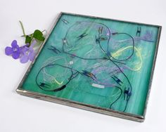 Aqua Blue Stained Glass Trivet Kitchen by BalsamrootGlass on Etsy, $25.00