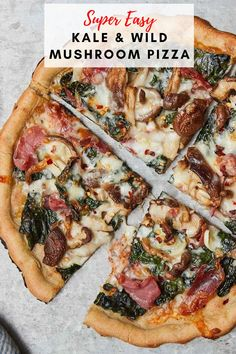 I could eat pizza everyday, especially if it's as healthy as this kale, mushroom pizza, and prosciutto pizza. This pizza is full of healthy vegetables! Wild Mushrooms, Stuffed Mushrooms, Stuffed Peppers, Pizza Dough From Scratch, Prosciutto Pizza, Mushroom Pizza, Pizza Bites, Gluten Free Pizza, Eat Pizza