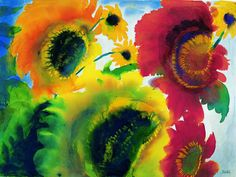 Emil Nolde, water colour Red and Yellow Sunflowers  on ArtStack #emil-nolde #art
