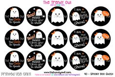 Spooky Boo Ghost   Halloween Digital Bottle Cap by TrendyOwlSupply