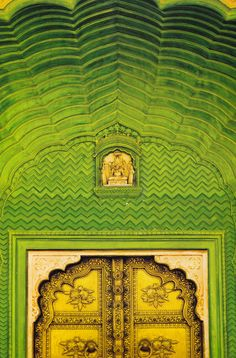 Where? no idea, found on an unhelpfully captionless Tumblr. But must be #India, looks like #Ganesh over the  #green #door