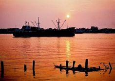 Sunset in Chao Phraya River delta (Samut Sakhon/west side), near Bangkok_ Central Thailand