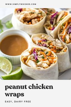 These easy, peanut chicken wraps are a simple and healthy lunch recipe, but they're delicious any time of day. Soft flour tortillas are filled with seasoned chicken, crunchy coleslaw and peanuts with a slightly spicy, homemade sauce. Lunch Recipes, Dinner Recipes, Cooking Recipes, Healthy Recipes, Main Meal Recipes, Healthy Lunch Meals, Lunch Foods, Cooking Tips, Vegetarian Recipes