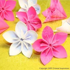 Wedding Origami Cherry Blossom Sakura Flowers in White and Hot Pink.