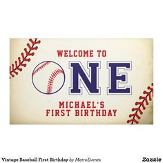 Shop Vintage Baseball First Birthday Banner created by MetroEvents. Football First Birthday, First Birthday Favors, First Birthday Posters, Boys First Birthday Party Ideas, First Birthday Banners, Kids Birthday Party Invitations, First Birthday Photos, Baby First Birthday, Birthday Signs
