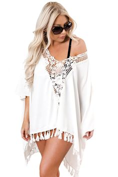 4d741409be27 Beach Cover-Ups Got It Covered Oversized Fit Crochet Swim Cover up