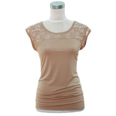 Taupe Casual Lace Shoulder Short Sleeve Top Jon & Anna. $19.99