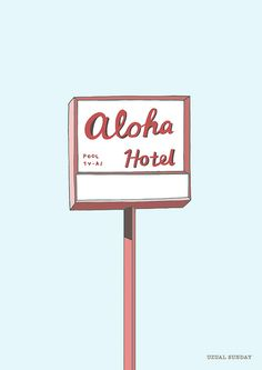 Aloha hotel art print 8x10 from uzualsunday by DaWanda.com