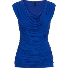 maurices Drape Neck Sleeveless Top (1.415 RUB) found on Polyvore featuring tops, shirts, sleeveless tops, blue, blue sleeveless top, rayon shirts, layering tanks, no sleeve shirts and blue top