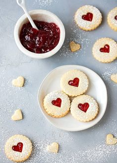 Easy Almond Linzer Cookies Recipe, round cutout cookies, sandwiched together wit. Holiday Cookie Recipes, Easy Cookie Recipes, Holiday Cookies, Holiday Baking, Christmas Baking, Sweet Recipes, Dessert Recipes, Tea Party Desserts, Linzer Cookies