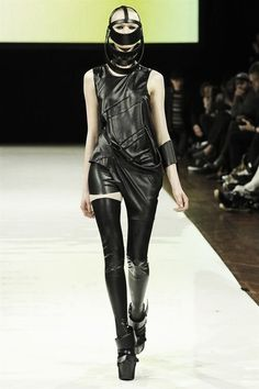 Barbara i Gongini latex thigh highs, facemask and  asymmetrical dress. | macabre | dark fashion | goth | obscure | high fashion