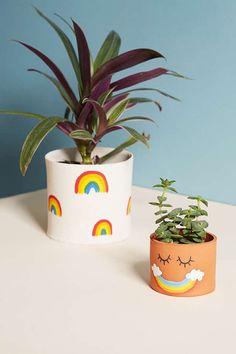 Shop Jarmel By Jarmel Rainbow Planter at Urban Outfitters today. We carry all the latest styles, colors and brands for you to choose from right here. Painted Plant Pots, Painted Flower Pots, Painted Pebbles, Ceramic Plant Pots, Indoor Planters, Diy Planters, Plant Painting, Diy Painting, Stone Painting