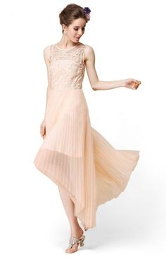 Apricot Sleeveless Embroidery Pleated High Low Dress pictures