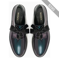 8f96416d4ca1 Iridescent leather Derby shoes Low Heel Shoes