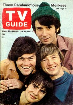 The Monkees and Davy Jones first appearance on the cover of TV Guide Magazine in 1966.