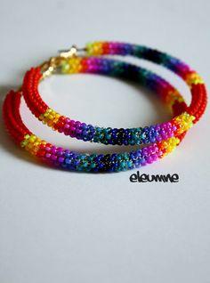 Red+Dark+Rainbow+Native+American+Beaded+Hoop+Earrings+by+eleumne,+$45.00