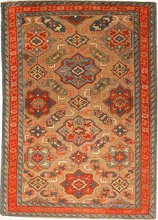 Doris Leslie Blau - Size: 5'7'' × 3'7'' Circa: 1880 An impeccable late 19th century Kuba rug with a light brown field beneath a modern geometric vinery trellis with bold polychrome medallions ...  Item No: BB4754 $26,000