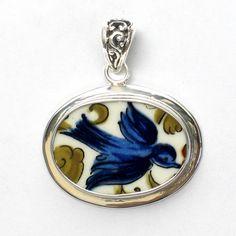 Broken China Jewelry Villeroy & Boch Luxembourg Troubadour Blue Bird Bluebird Sterling Horizontal Oval Pendant