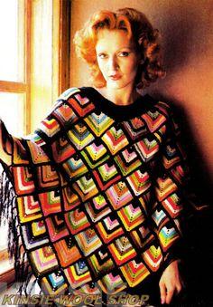 Stash Busting Retro Harlequin Poncho PDF Vintage Crochet Pattern by MomentsInTwine on Etsy Crochet Poncho Patterns, Crochet Shawl, Knit Crochet, Granny Square Poncho, Granny Squares, Festival Poncho, Mode Crochet, Fingering Yarn, Bolero