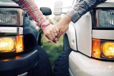 Country Engagement Photos maybe not with two duramax's or even the same two trucks but this would be perfect for us :) Future Engagement photo :) Country Couple Pictures, Country Engagement Pictures, Country Couples, Cute Couple Pictures, Engagement Couple, Engagement Shoots, Hunting Engagement, Couple Pics, Fall Pictures