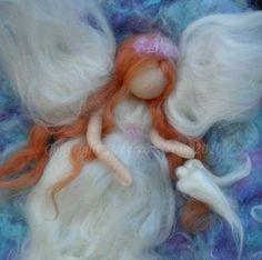 Needle felted fiber art wool painting wall hanging angel violet dove Ascension by Nushkie Design Felt Pictures, Pictures To Paint, Angel Pictures, Needle Felting Tutorials, Felt Fairy, Wool Art, Felt Decorations, Wet Felting, Felt Dolls