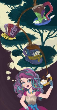 A Tea Tree! A Tea Family Tree! by gabbidisney (Look at the top teacup! Monster High Art, Childhood Tv Shows, Fairy Tail Characters, Raven Queen, Ever After High, Stop Motion, Alice In Wonderland, Fantasy Art, Art Drawings