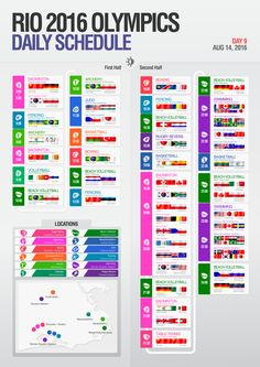 Rio 2016 Olympics daily schedule infography
