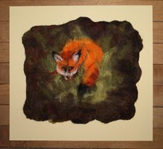In The Woodland Glade - original felted picture of a fox in a woodland glade, mounted ready to frame. by GardenGalleryDerbys on Etsy