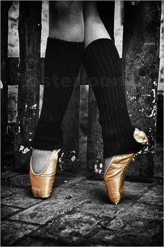 Poster Goldene Ballettschuhe