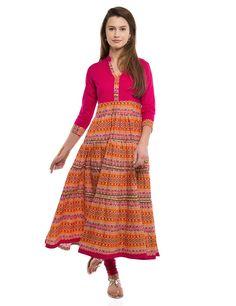Vishudh Women s Pink Cotton Anarkali Kurta Material  Cotton Colour   Pink  Coloured Casual wear kurta Banded collar e819682d0