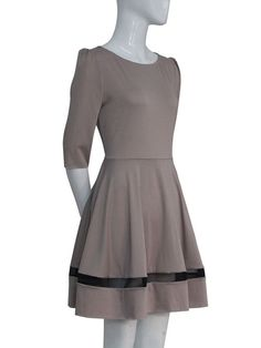 Fashion Fifth Sleeve Stitching Swing Career Pleated Dress - WSDear.com