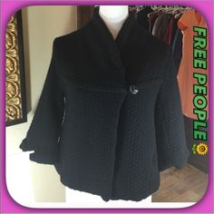 Free People Black Lambswool 3/4 Sleeve Jacket 💕 Free People Chic Black 3/4 Sleeve Black Lambswool Jacket: Coat!  Beautiful Jacket with Toggle Closure  and side pockets!  Fully Lined and very comfortable! Free People Jackets & Coats